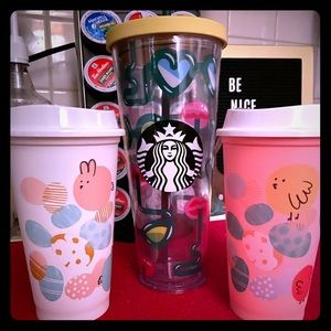 3 Starbucks Reusable Cups!